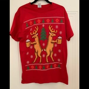NWT CHRISTMAS ugly tee shirt deer and beer shirt